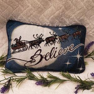 Santa's Sled Believe Throw Pillow